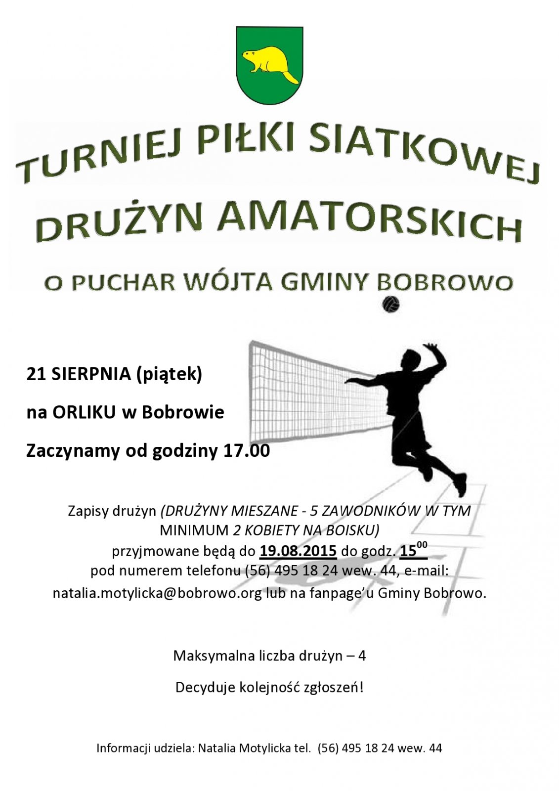 Turniej Piłki Siatkowej Drużyn Amatorskich o Puchar Wójta Gminy Bobrowo