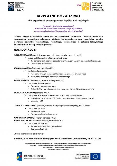 Bezpłatne doradztwo dla organizacji pozarządowych i spółdzielni socjalnych